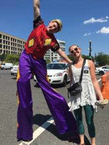 Stretching my legs with the members of the Moonlight Circus at Capital Pride